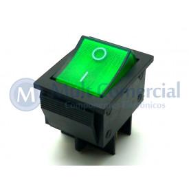 Interruptor de Tecla Plástica Bipolar KCD4-201N 15A 250V  LIGA/DESLIGA  - Verde