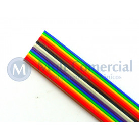 Flat Cable Colorido 28AWG  16 Vias DS-1058-16M28 - Rolo com 30 Metros