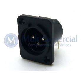Conector XLR 90° Macho 3 Vias PCI para painel - JL33048