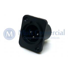 Conector XLR 3 vias Macho Solda Fio Para Painel - JL33046