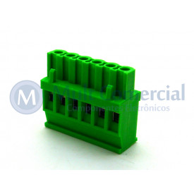 Conector Verde Multipolar AKZ1100-06 Macho de 06 vias - Passo 5.08mm - Phoenix Mecano