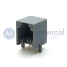 Conector JACK RJ11 6P4C 4 Vias na cor Cinza - YH55-03