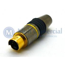 Conector Mini Din Macho Gold JL21301 4 Pinos Com Rabicho  - Jiali