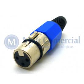 Conector XLR Fêmea Solda Fio Para Cabo JD-W9405 - Azul