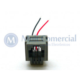Conector JACK RJ11 Com Fio de 5cm 623K  04 Vias