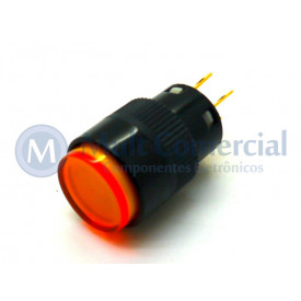 Chave Push Button com Led - ON-OFF Com Trava WTN-16-1205R3B 12V-5A - Amarelo