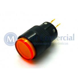Chave Push Button com Led - ON Sem Trava Momentânea WTN-16-1205R3A 12V-5A - Amarelo