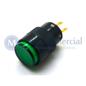 Chave Push Button com Led - ON-OFF Com Trava WTN-16-1205R3B 12V-5A - Verde