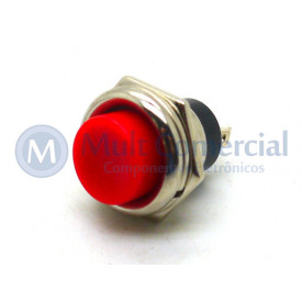Chave Push Button NF Vermelho PBS-26C ON/OFF (Normalmente Fechada)