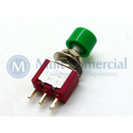 Chave Push Button DS-612 3T 2A/250V NA/NF - Verde