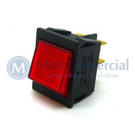 Interruptor de Tecla Bipolar ITB 14 LIGA/DESLIGA - Tecla Luminosa Neon Reta Vermelho - Emicol