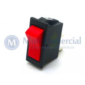 Interruptor de Tecla Unipolar ITU 05 LIGA/DESLIGA - Tecla Opaca Vermelho - Emicol