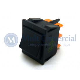 Interruptor de Tecla Bipolar ITB 10 LIGA/DESLIGA - Tecla Opaca Preto - Emicol