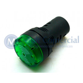 Sinaleiro Led Sonoro (Intermitente) 22mm JAD1622DM 220Vca - Verde
