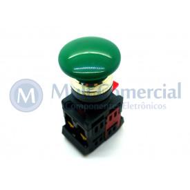 Botão de Emergência Tipo Cogumelo Pulsador 40mm Verde - LAY80-PC35 - JNG