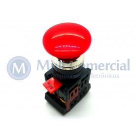 Botão de Emergência Tipo Cogumelo Pulsador 40mm Vermelho - LAY80-PC45 - JNG