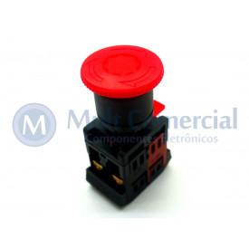 Botão de Emergência Cogumelo Gira-Destrava 40mm Vermelho