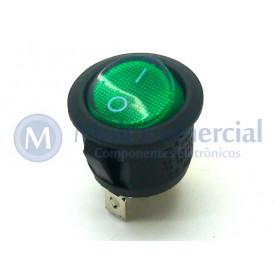 Chave Gangorra Redonda LIGA/DESLIGA Com Led Verde - KCD1-106-102N