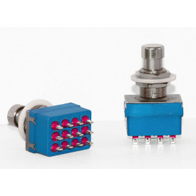 Chave Foot Switch 4PDT Super ByPass na cor Azul para solda fio - SW4PDT#2