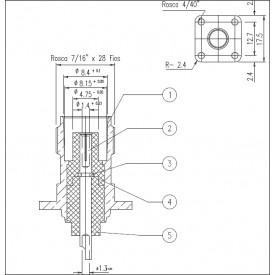 Conector TNC Fêmea Reto Painel Base Quadrada - TF-2 - Gav 62 - KLC