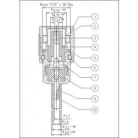Conector TNC Macho Reto Cabo Crimpragem RG 174 Pino Fêmea Fixo - TM-37 - Gav 56 - KLC